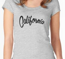 California - Vintage Style Black Women's Fitted Scoop T-Shirt
