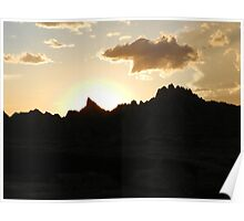 Sunset in the Badlands Poster
