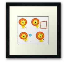 Cartoon illustration of cute safari lion character: single Lion Framed Print