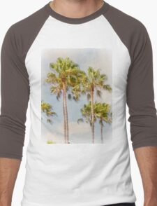 Palm Trees Santa Monica Beach California Men's Baseball ¾ T-Shirt
