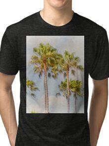 Palm Trees Santa Monica Beach California Tri-blend T-Shirt