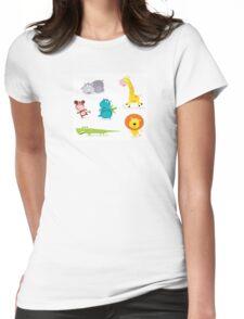 Cartoon illustration of six cute safari animals - Giraffe, Hippopotamus, Rhinoceros, Crocodile, Lion and Monkey Womens Fitted T-Shirt