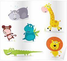 Cartoon illustration of six cute safari animals - Giraffe, Hippopotamus, Rhinoceros, Crocodile, Lion and Monkey Poster