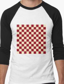 Checkered Burgundy and Cream Men's Baseball ¾ T-Shirt