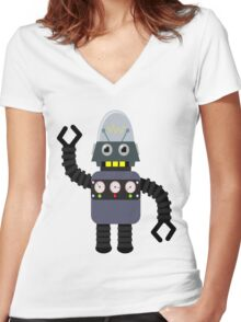 Funny robot Women's Fitted V-Neck T-Shirt
