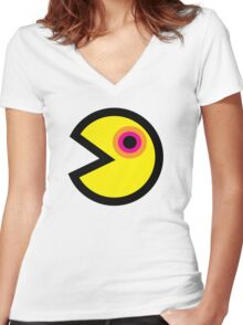 Super Retro Pacman Sticker Women's Fitted V-Neck T-Shirt