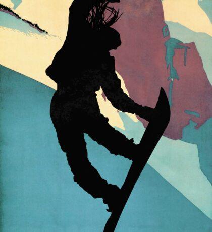 Snowboarding Betty, morning light Sticker