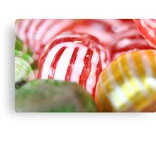 Macro of Striped Hard Candy Canvas Print