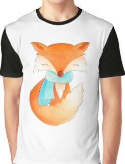 Cute fox cub whimsical winter watercolor art Graphic T-Shirt