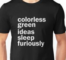 Colorless Green Ideas Sleep Furiously | Black | Linguistics Unisex T-Shirt