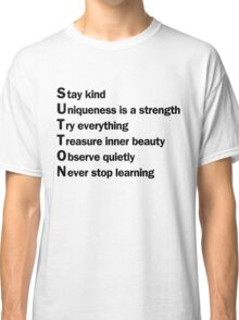Sutton Foster - Life Lessons Acrostic | White Classic T-Shirt