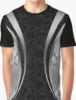 Silver And Black Geometric Design Floral Damasks Graphic T-Shirt
