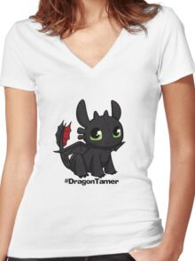 Dragon Tamer Women's Fitted V-Neck T-Shirt