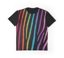 Bright Rainbow Zebra Graphic T-Shirt