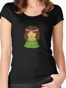 Hawaiian kokeshi doll Women's Fitted Scoop T-Shirt