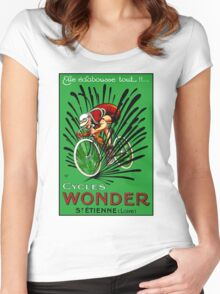 BICYCLE WONDER: Vintage Racing Advertising Print Women's Fitted Scoop T-Shirt