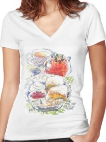 Tea and Scones Women's Fitted V-Neck T-Shirt