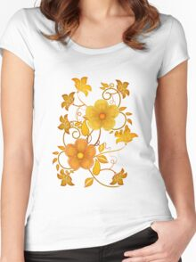 Shades of yellow .. flower design Women's Fitted Scoop T-Shirt