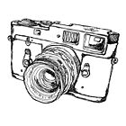 Vintage Rangefinder Camera Line Drawing Design by strayfoto