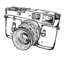 Vintage Rangefinder Camera Line Drawing Design by strayfoto