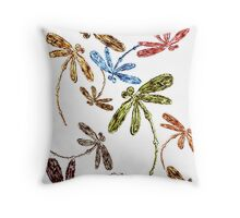 Dragonfly Frenzy Rainbow Throw Pillow