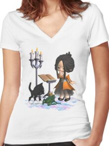 A witch in big trouble .. tee shirt Women's Fitted V-Neck T-Shirt