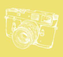 Vintage Rangefinder Camera Line Design - White Ink for Dark Background Kids Clothes