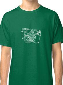 Vintage Rangefinder Camera Line Design - White Ink for Dark Background Classic T-Shirt