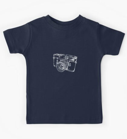 Vintage Rangefinder Camera Line Design - White Ink for Dark Background Kids Tee