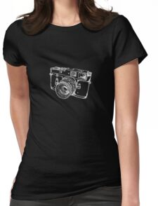 Vintage Rangefinder Camera Line Design - White Ink for Dark Background Womens Fitted T-Shirt