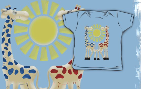 Cheeky Giraffes .. tee shirt by LoneAngel