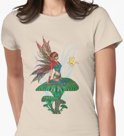 The Fairy and the Golden Pegasus  Womens Fitted T-Shirt