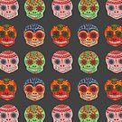 Watercolor Dia de los Muertos Skulls by haidishabrina