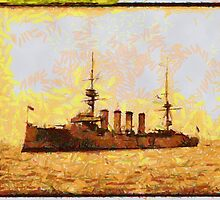 A digital painting of the British Cruiser HMS Argyll 1907 by Dennis Melling
