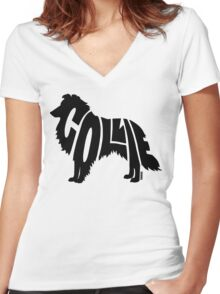 Collie Black Women's Fitted V-Neck T-Shirt