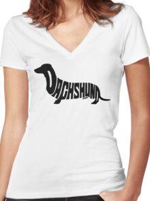 Dachshund Black Women's Fitted V-Neck T-Shirt