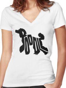 Poodle Black Women's Fitted V-Neck T-Shirt