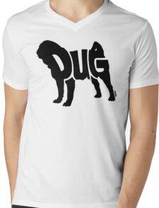 Pug Black Mens V-Neck T-Shirt