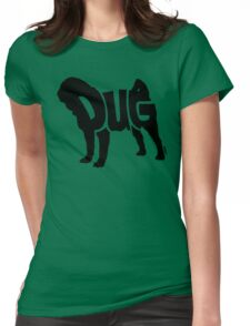 Pug Black Womens Fitted T-Shirt