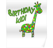 BIRTHDAY KID with Polka Dot Giraffe Poster