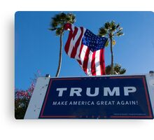 Donald Trump Campaign Sign with Huge USA Flag Canvas Print