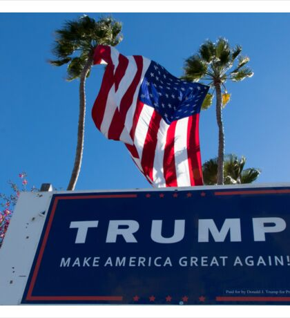 Donald Trump Campaign Sign with Huge USA Flag Sticker