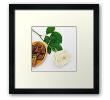 White rose with dessert Framed Print