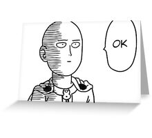 "One Punch Man Saitama ""OK"" Design Greeting Card"