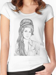 Amy Winehouse - B&W Women's Fitted Scoop T-Shirt