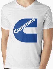 Cummins Blue Logo Mens V-Neck T-Shirt