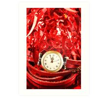 Christmas composition with red baubles  Art Print