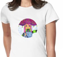 Umbrella Girl Round Womens Fitted T-Shirt
