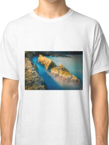 Rocks and misty blue ocean Classic T-Shirt