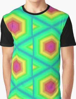 Neon Green Tribal Star Octagon Gate Geometric Mosaic Yellow Pink Cool Colorful Graphic T-Shirt
